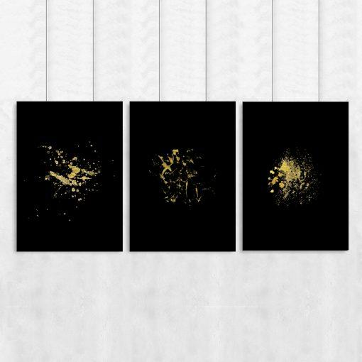 Plakat tryptyk z motywem abstrakcji