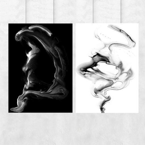 Plakat dyptyk czarno-biały do salonu