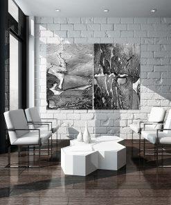Abstrakcyjny dyptyk na ścianę do salonu