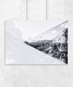 Czarno-biały plakat z motywem geometrycznym