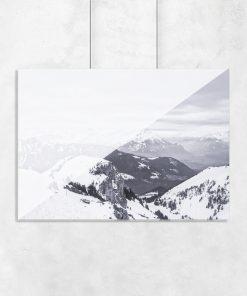 Plakat geometryczny z górami