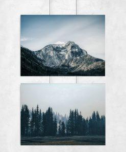 Niebieski plakat dyptyk z motywem lasu i góry