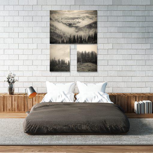Trzy plakaty w kolorze sepii do sypialni