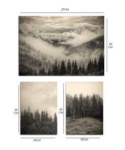 Plakat w kolorze sepii z motywem lasu i góry