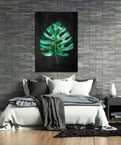 Plakat z zielonym liściem do sypialni