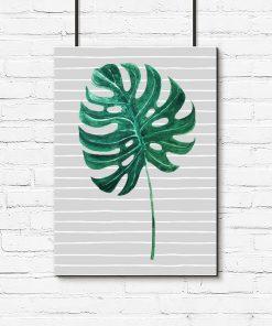 Plakat z motywem zielonego liścia