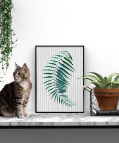 Plakat z liściem palmy do salonu