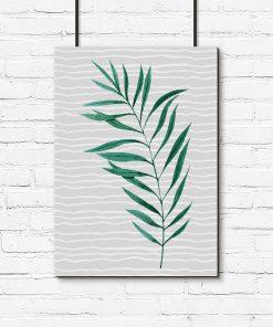 Szary plakat z zielonym liściem