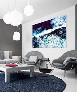 Niebieski plakat do ozdoby salonu