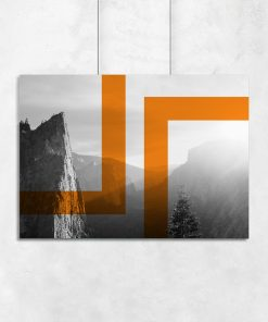 Plakat z pomarańczowym wzorem i motywem gór