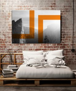 Czarno-biały plakat z pomarańczowym wzorem do sypialni