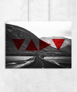 Plakat z górskim krajobrazem