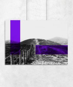 Plakat z krajobrazem i prostokątami