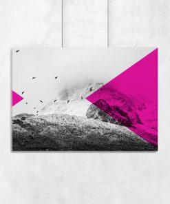 Geometryczny plakat z krajobrazem gór