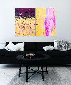 Żółto-różowy plakat dyptyk z abstrakcją
