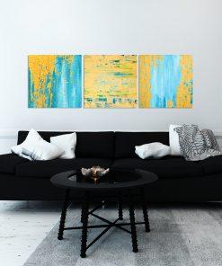Plakat tryptyk z abstrakcją do salonu