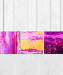 Różowy tryptyk z abstrakcją