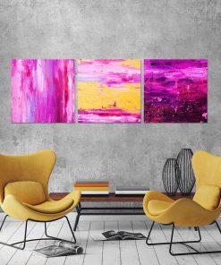 Tryptyk z różową abstrakcją do salonu