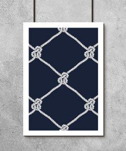 Granatowy plakat z białym wzorem
