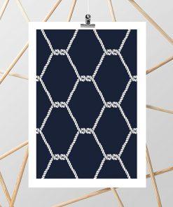 Granatowy plakat z motywem białych lin
