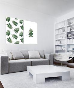 Plakat z motywem zielonych liści do salonu