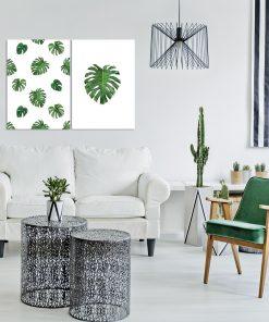 Dwa plakaty z motywem tropikalnych liści do salonu