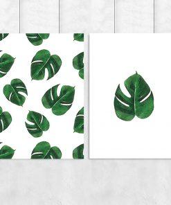 Zestaw plakatów w tropikalne liście