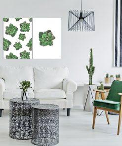 Plakat w zielone kwiaty do salonu
