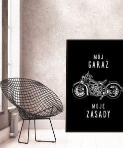Czarno-biały plakat do garażu