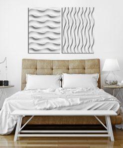 Szary plakat dyptyk do nowoczesnej sypialni