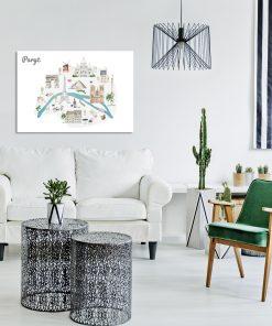 Plakat z motywem mapy do salonu