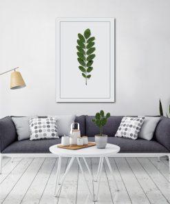 plakat z motywem liści