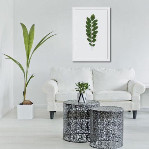 plakat z motywem zielonych liści