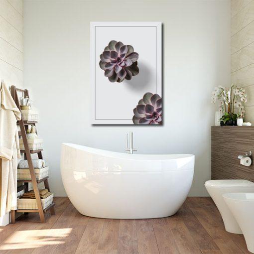 łazienkowa dekoracja z sukulentami