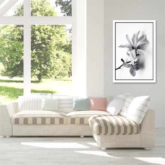 Plakat Z Białym Kwiatem