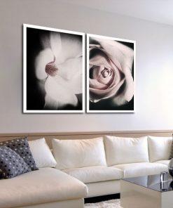 dyptyk z różowymi kwiatami