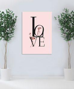 plakat z różowymi flamingami