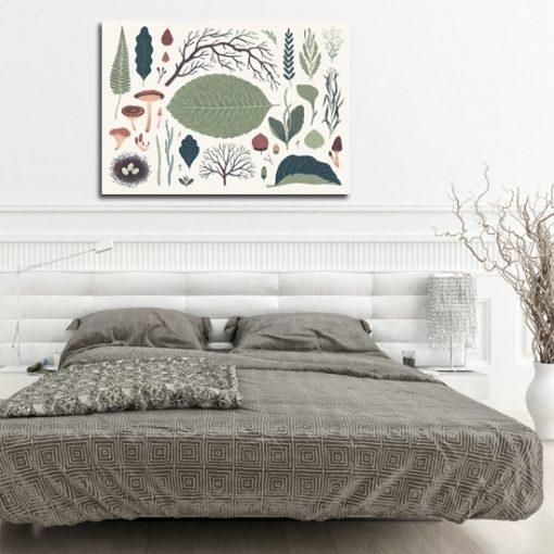 sypialnia z motywem leśnego plakatu