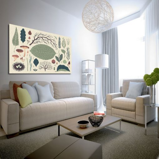 salon z motywem leśnego plakatu