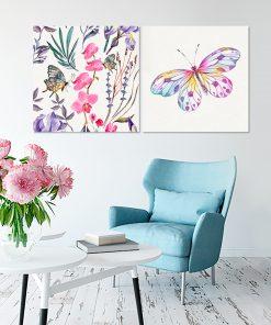 Różowo-fioletowy zestaw plakatów do salonu