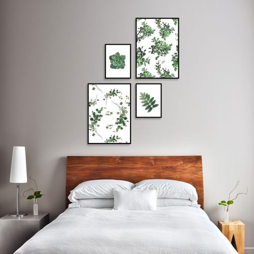 Botaniczny zestaw plakatów do sypialni