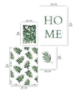 Zestaw plakatów z motywem zielonych liści