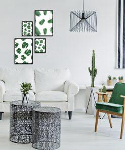 Galeria plakatów z motywem zielonych liści do salonu
