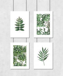 Zielony zestaw plakatów do sypialni
