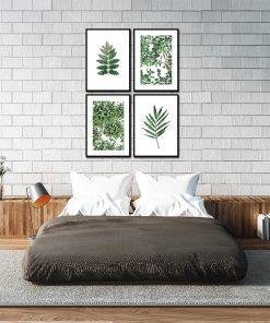 Zestaw plakatów w zielone liście do sypialni
