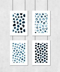 Zestaw plakatów z motywem niebieskich kropek