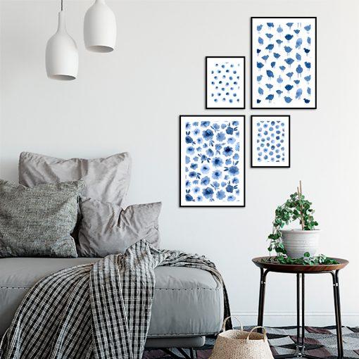 Zestaw plakatów z motywem niebieskich wzorów