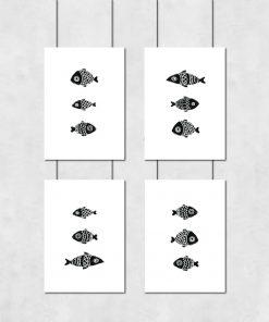 Komplet czterech plakatów w kolorze czarno-białym