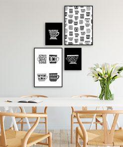 plakaty z filiżankami do kuchni