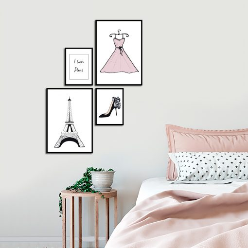 Zestaw plakatów glamour do sypialni